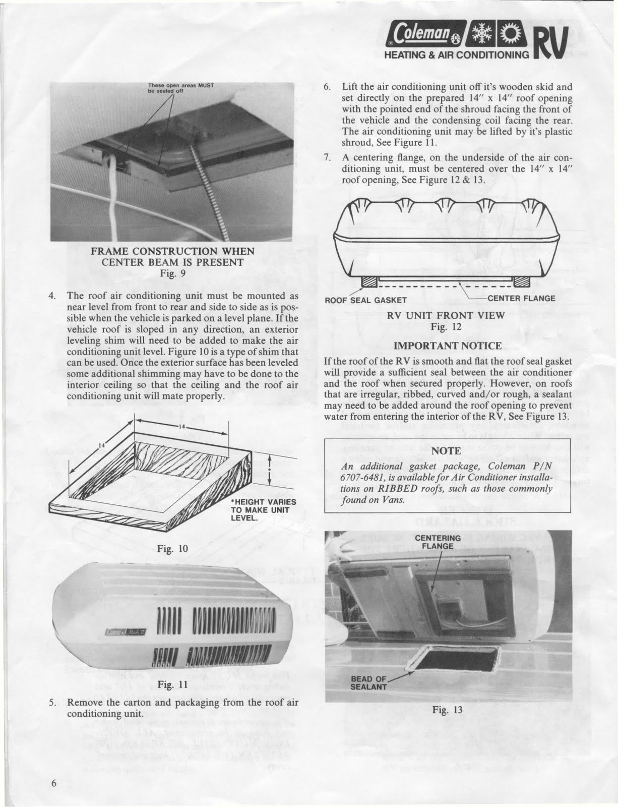 Coleman Mach Rv Air Conditioner Owner S Manual Manual Guide
